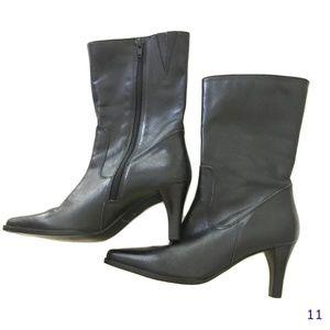 Eddie Bauer Black Leather Mid Calf Boot Size 6 1/2